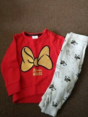 Baby Girls Disney Minnie mouse Jumper And Joggers 12-18 Month Excellent Con