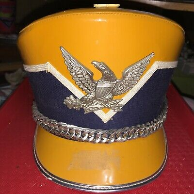 DEMOULIN WHITE LEATHER MARCHING BAND SHAKO WITH BOX LYRE BADGE /& HAT BOX LARGE