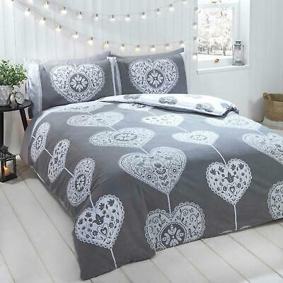 Grey Duvet Covers Flannelette Brushed Cotton Heart Print Quilt Cover Bedding Set
