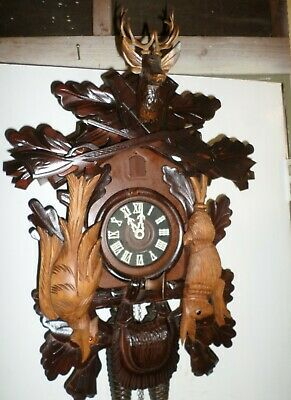 Deeply Carved Large Rare German Schmeckenbecher 8 Day Hunter Deer Cuckoo Clock!