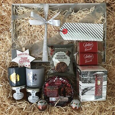 Special Couple Merry Xmas Tea Biscuits Pudding Candle Jams Luxury Gift Hamper