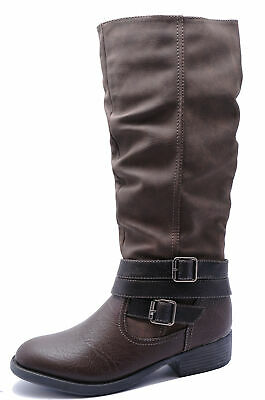 Ladies Brown Riding Tall Knee-High Leather Lined Zip-Up Boots Shoes Sizes 3-8