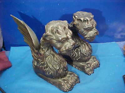 Early 20thc VICTORIAN Era CARVED Architectural WOOD GARGOYLES From Fireplace