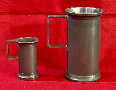 Rare Antique Crown & Teapot Mark (2) Heavy Pewter Measuring Cup Mugs with Handle