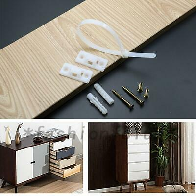 12 Pack Furniture Anchors Baby Prevent Fall Over Straps Anti Tip Adjustable Safe