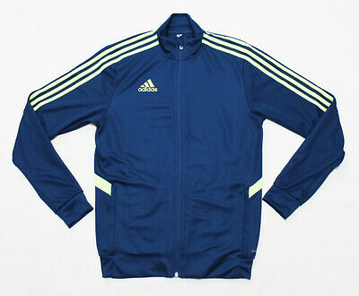 NWT ADIDAS Tiro Men's Blue & Neon Full-Zip Climalite Pocket-Zipper Track Jacket