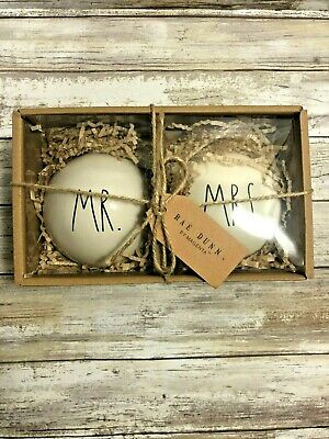 Rae Dunn Christmas 2019 By Magenta MR. and MRS. Large Letter Ornament, Set of 2