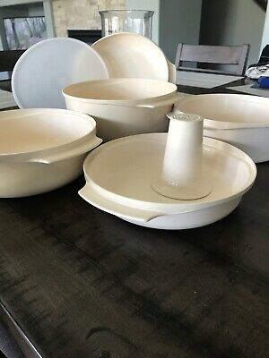 Vintage Tupperware 7 Pc Almond Stack Cooker Microwave Set Steam Cook