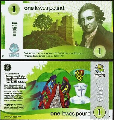 England Transition Town *LEWES* One Pound 2009 UNC