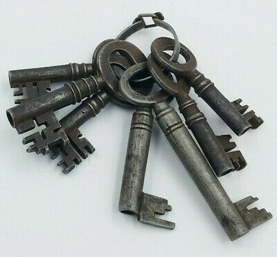 Job Lot of 7 Antique Iron Keys. Church - Jail - Chateau. Architectural Salvage.