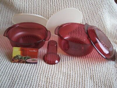 Tupperware Stack Cooker Baker's Starter 6-pc Set Microwave Cranberry New