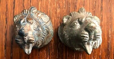 Pair of Genuine Ancient Roman lion head bronze finals, 1st-2nd Century AD