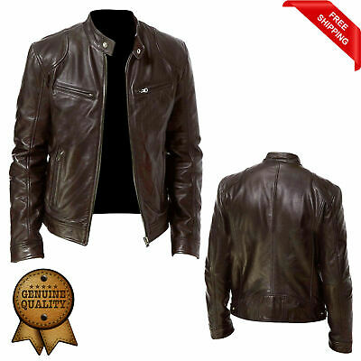Men's Vintage Cafe Racer Brown Genuine Real Leather Slim Fit Real Biker Jacket