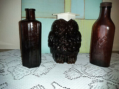 Lot of 3 Vtg. Amber Brown Embossed Bottles****Cod Liver, Bank & Poison.