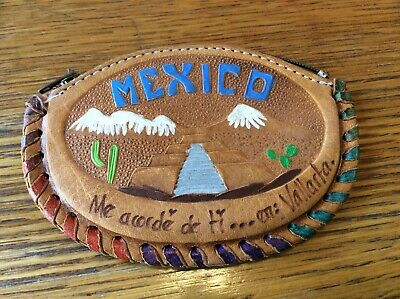 Vintage Mexico Hand Tooled Embossed Souvenir Leather Wallet Coin zipper purse