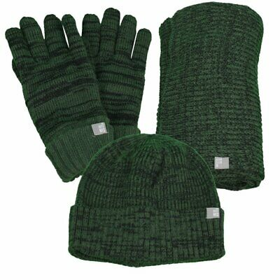 No Excess Scarf Hat Gloves Set Green Mottled 92950901 059 Dk Army