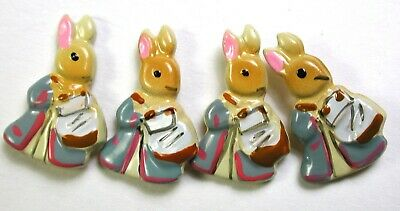 """4 Vintage enamel on Brass Buttons Realistic Beatrix Potter Character - 5/8"""""""