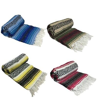 Mexican Blanket Falsa Woven Yoga Throw Sarape Seat Cover Throw Rug