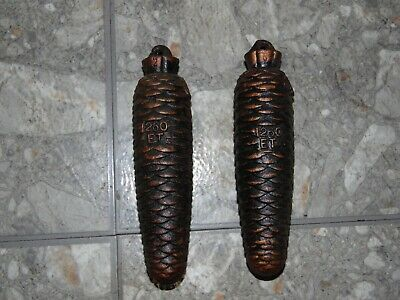 """Vintage Pair of Cuckoo Clock Weights 1260 ET Cast Iron Pinecone 6.75"""" length"""