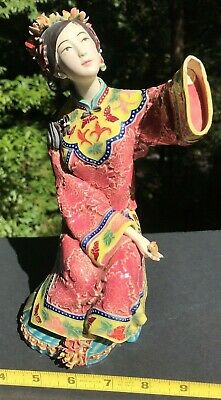 Antique Chinese Famille Rose Porcelain Figurine Statue Double Signed ? Woman Old