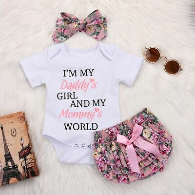 Floral Ruffles Bodysuit Romper Jumpsuit DADDY Letters Printed Baby Girls Outfit