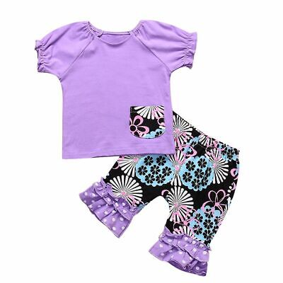 Clothes T-shirt Tops Baby Girls Outfits Set Short Sleeve Ruffle Cropped Pants