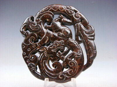 Old Nephrite Jade Stone 2 Sides Carved LARGE Pendant Mouse On Dragon #09301803C