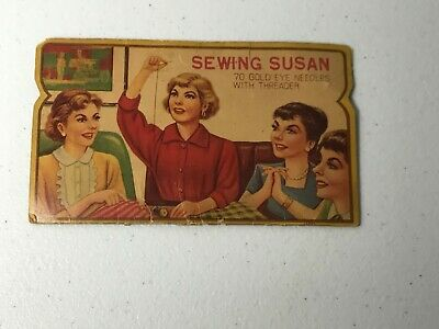 Vintage Sewing Susan With 70 Gold Eye Needles With Threader