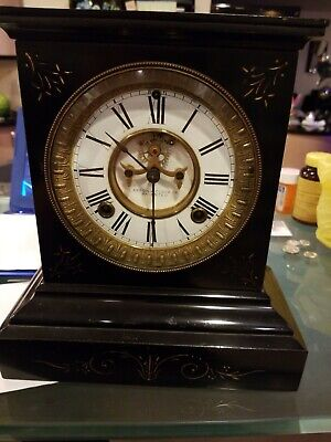 1882 Ansonia Mantel Clock Antique Cast Iron Case
