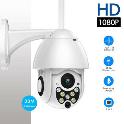 1080P HD CCTV IP Camera Waterproof Outdoor WiFi PTZ Security Wireless IR Cam LOT