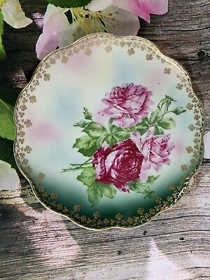 Antique Wheelock China Austria Decorative Plate Green Floral Shamrock Trim