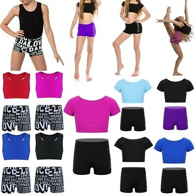Kids Girls Ballet Dance Gym Tankini Outfit Tank Top+Shorts Set Leotard Dancewear