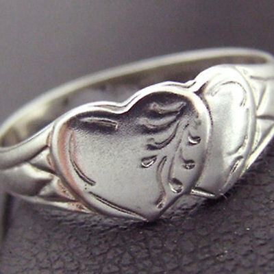 Ring Real 925 Solid Sterling Silver Heart Vintage Engraved Signet Design SZ N 7