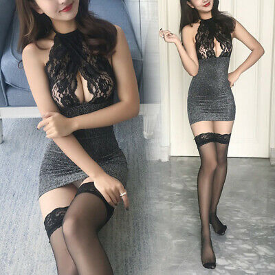 Women Sexy Mini/Dress Backless Sleeveless Bodycon Hollow Lace Slim Fit Bandage