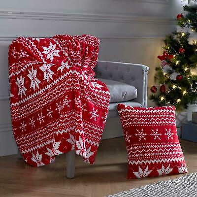 Red Christmas Throw Fleece Snowflake Nordic Cushion Covers Super Soft Blanket