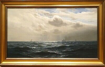 Large 19h Century English South Coast Seascape Shipping Marine Oil Henry MOORE