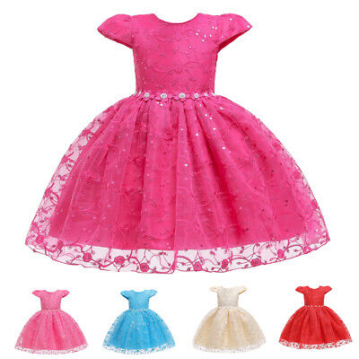 Flower Girls Sequins Party Dress Wedding Christmas Kid Pageant Prom Tutu Dresses