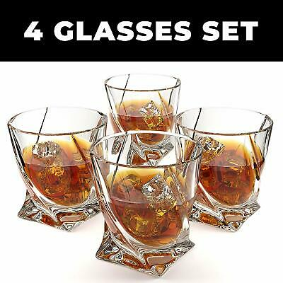 Crystal Whiskey Glass Set of 4 Twist Tasting Tumblers for Drinking Large 10 oz