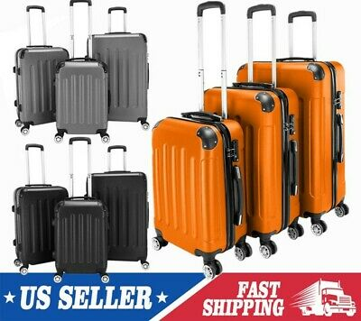 3Pcs Luggage Travel Bag w/Lock ABS Trolley Spinner Carry On Business Suitcase