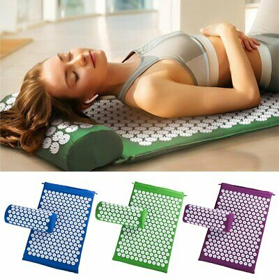 Acupressure Massage Pillow Mat Yoga Bed Pilates Nail Needle Pressure + Pillow CU