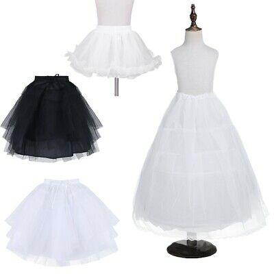 Long Children Crinoline Underskirt Petticoat Slip Kids Flower Girl Party Dress