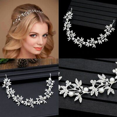 Silver Wedding Hair Vine Crystal Bridal Diamante Hairband Headpiece CU
