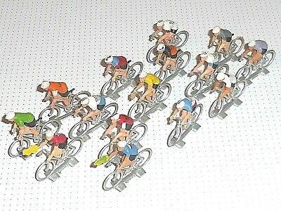 Lot Figurines 15 Cyclistes Plastique COFALU KIM'PLAY NOREV Tour France Vintage