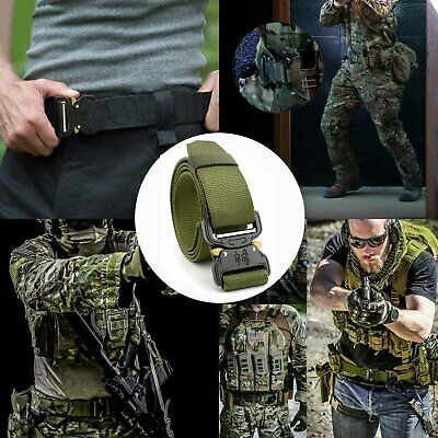 HOT Mens Canvas Outdoor Tactical Belt Heavy Duty Army Web Strap Waistband CU