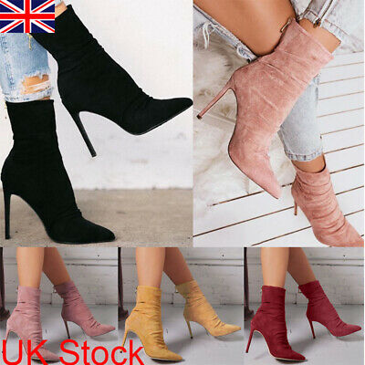 Womens Suede Stiletto High Heel Boots Ladies Zipper Sock Short Ankle Party Shoes