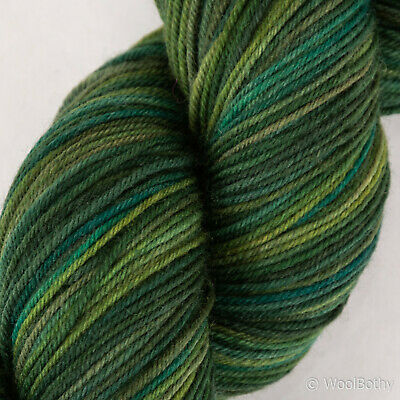 *100g*Hand Dyed BRITISH SOCK WOOL* 4 Ply.Green Forest.knitting yarn.lace.painted