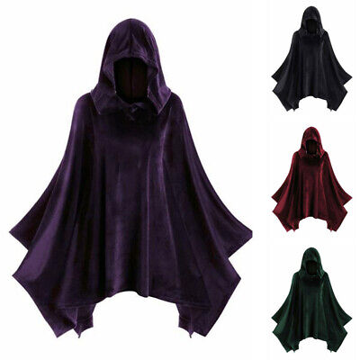 Unisex Medieval Vintage Gothic Cosplay Costume Hooded Cloak Steampunk Party Tops