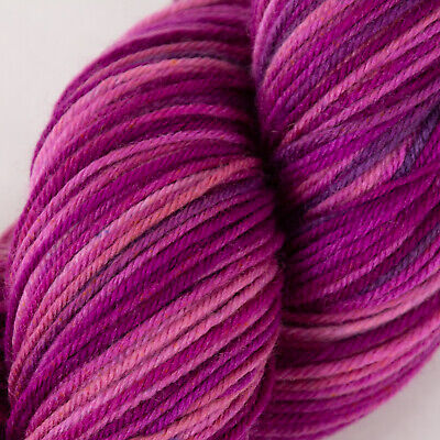 *100g*Hand Dyed BRITISH SOCK WOOL* 4 Ply Purple Pink.knitting yarn.lace.painted