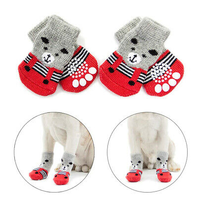 Hcpet Anti-Slip Dog Socks for Indoor Wear, Paw Protection Dogs (M, M, red