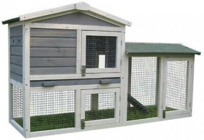 BUNNY BUSINESS The Grove Grey Double Decker Rabbit/ Guinea Pig Hutch and